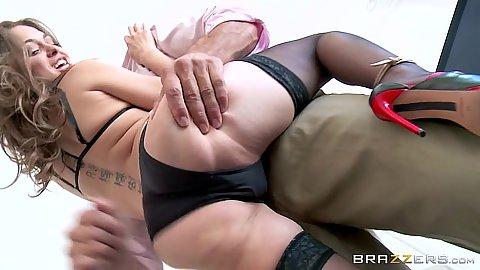 Stockings Riley Reid in candid cuckold camera