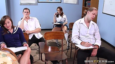 School girl in class Dillion Harper opens legs and starts touch self