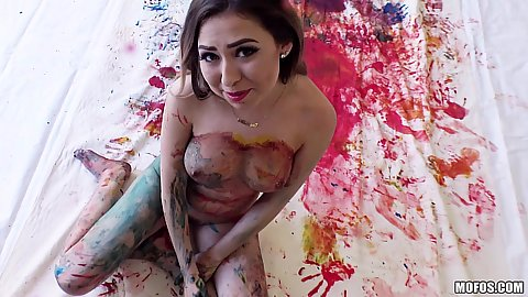 Melissa Moore is all messy and covered in paint
