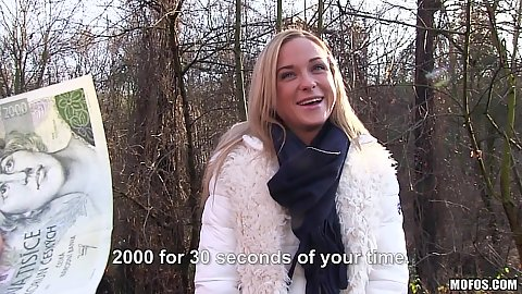 Euro Cristal Caitlin flashing some small tits outdoors for cash