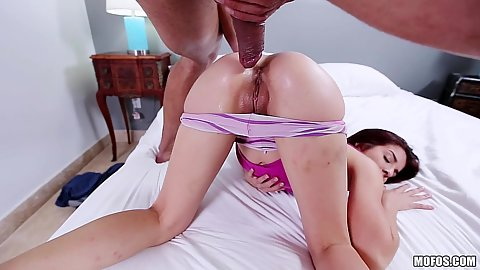 Petite girl Sally Squirtz squirts all over while fucked by a cock bigger than her hole