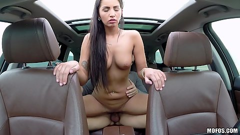 Backseat slamming with college natural body hungarian chick Loren Minardi