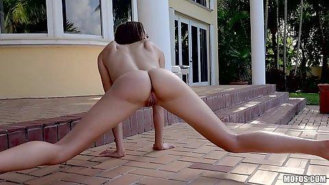 Nice body flexible latina Julianna Jones getting nailed on pool chair
