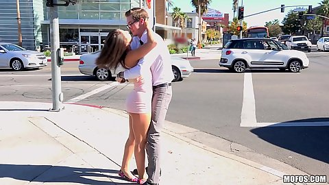 Abella Danger kissing dude on the street then gives him head