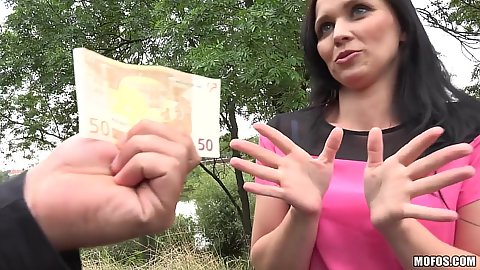 Mischievous brunette Joanna Black wants some money to get groped in public