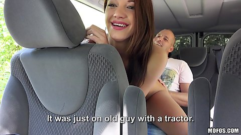 Smiling chick Felicia fucked while hitchhiking