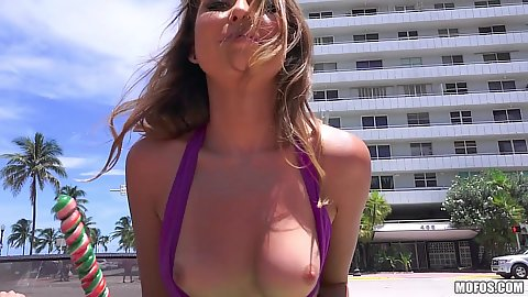 Melissa Moore flashing her prky little tits in public outdoors