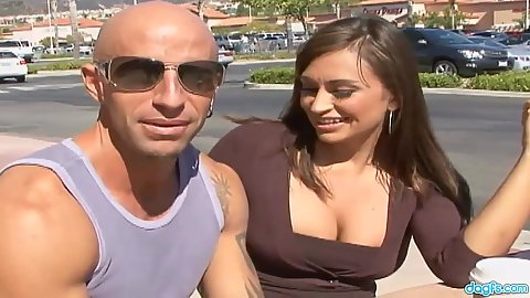 Talking with just divorced milf Claudia Valentine in public
