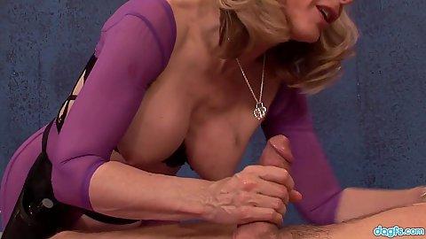 Charming lingerie mature masseuse milf Nina Hartley sucking off while wearing bodystocking