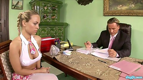 Blonde college gf Marketa at the office giving head