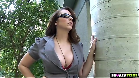 Busty outdoor Jenny Hendrix is a would be pornstar