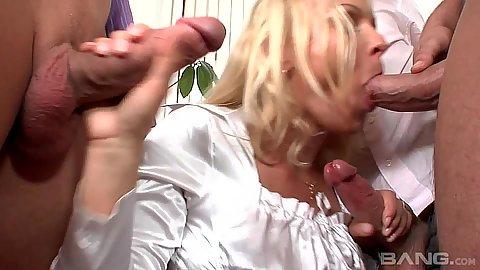 Cock sucking mature gang bang with euro mom