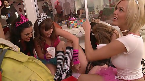 Party time with Faye Reagan and Georgia Jones getting naked and dirty