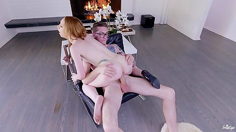 Naughty and white as paper skin redhead on top fuck with Katy Kiss