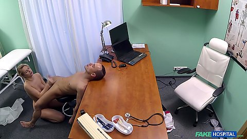Jerking cock with dirty minded nurse Nikky Dream on hidden office cam