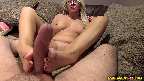 Foot job with naughty feet milf Mia