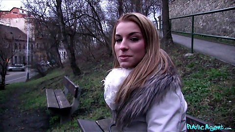 Picking up Victoria Daniels on a public bench outdoors