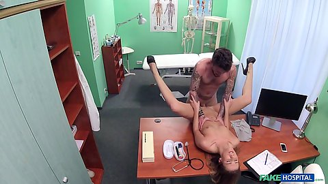 Nurse Alexis enjoying patient screwing on doctors table