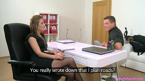 Eager male model talking with Alexis Emilia about a job