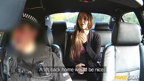 Backseat riding Leyla gives head to officer
