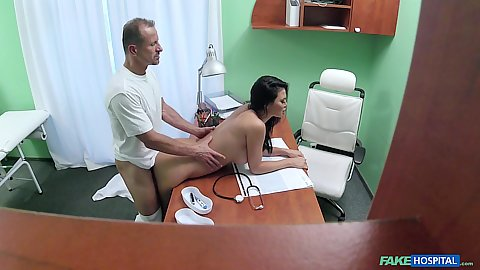 Lively brunette actress having sex with doctor from behind