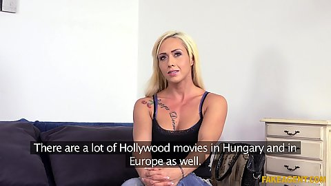 Enticing blonde having her interview about facial