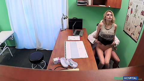 Tight pussy patient grinding doctors dick in his officer chair