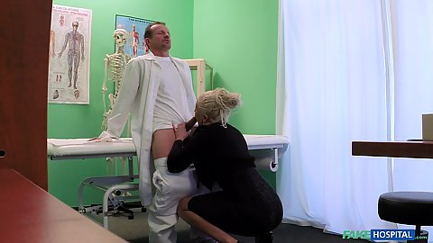 Blonde milf porn star giving doctor a nice professional blowjob