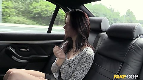 Backseat driving with American visitor slut in cop car