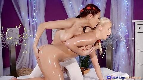 Oil massage with young girls trying to reach multiple orgams with Cayla Lyons and Paula Sky