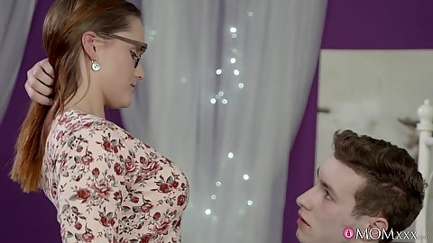 Milf mom in glasses is a teacher with seduction of younger male