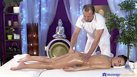 Oiled up and getting all over touched with Eveline on table