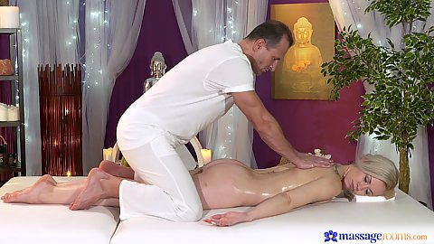 Blonde milf oil massage and stretching