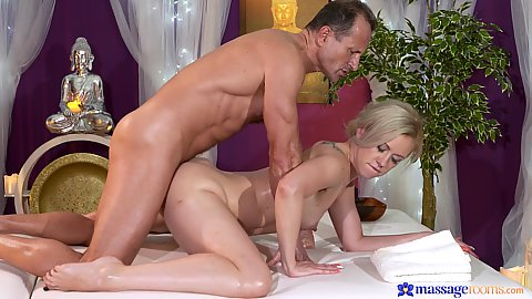 Milf Linda rear entry fucked during oil massage in side view