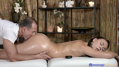 Oil massage with pussy hole teen Morgan fingering