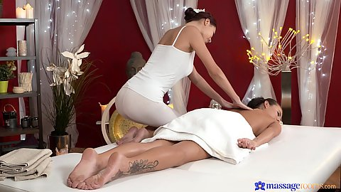 Vanessa D and Paula doing massage