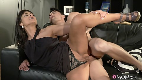 Heated milf sideways vagina penetration with younger male