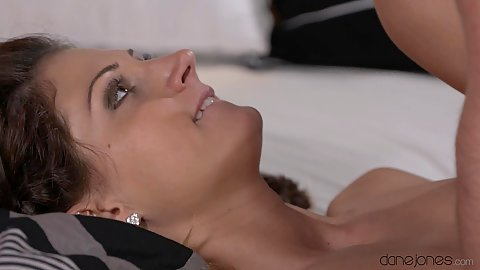 Tender loving with Eva and her man pounding in bed