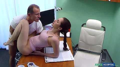 Fuck on doctors table at his office with Russian hottie Aruna