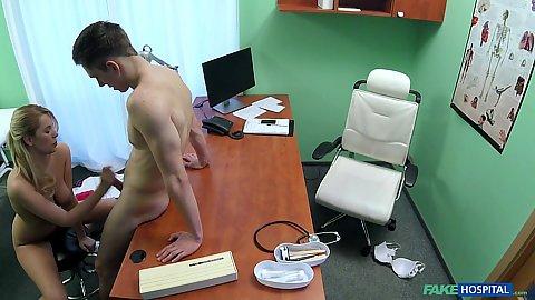 Doctors office horny Nikky Dream jerking off patient