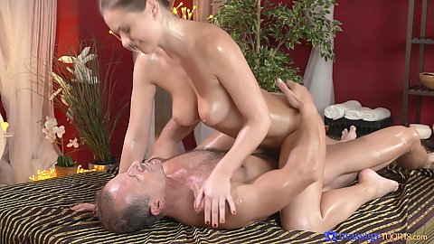 Heated fuck between George the masseuse and Tina on massage table