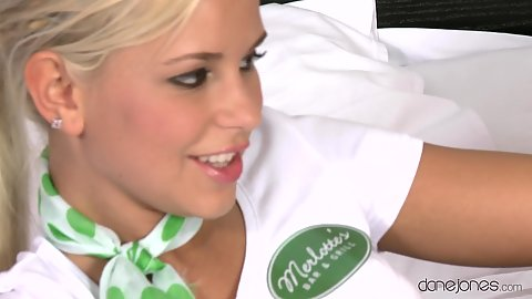 Blonde waitress Lola getting rid of her uniform