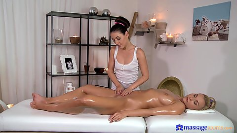 Ivy and Micha oil massage on table