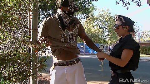 Anxious milf cop Reena Sky arrests a dude