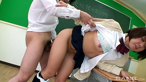 Half dressed asian school girl fuck in class with Thihiro Takizawa
