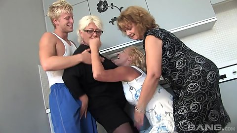 Mature ladies and a young man to fuck them