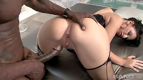 Doggy style interracial sex with big white ass girl Madison Rose