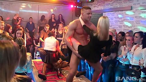Slut gets banged by male stripper at vip club house