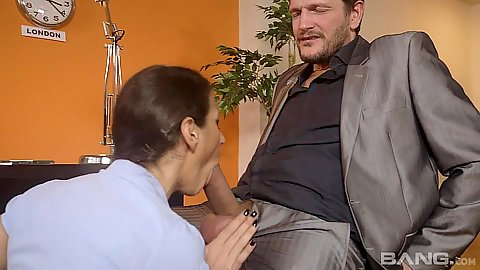 Dick sucking a working bitch Martina Gold fully clothed around office desk