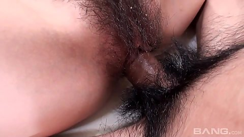 Really wet asian hairy vagina intercourse pov close up